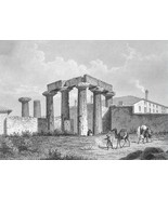 GREECE Temple on Island of Corinth - 1860 SCARC... - $54.45