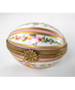 Limoges Box - Floral &  Pink Striped Egg - East... - $65.00