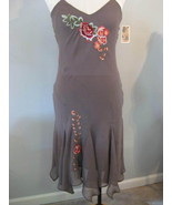 Lapis 100% Silk Brown Dress With Applique Size ... - $17.00