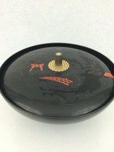 Black Lacquer Japanese Musical Divided Bowl Can... - $14.95