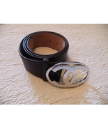 Chanel Belt Thick Leather Large Silver Metal CC Clasp 42