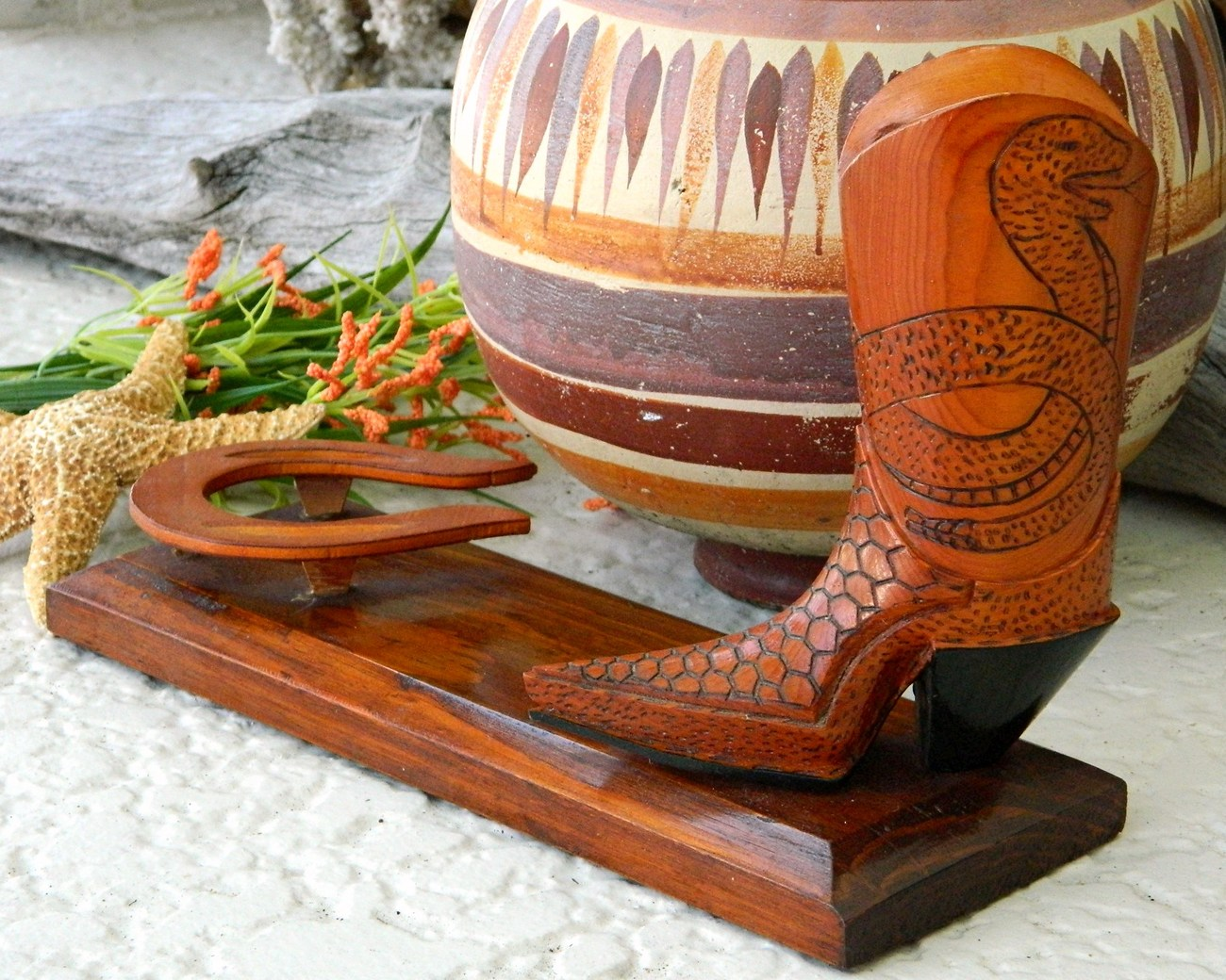 Vintage Cowboy Boot Wood Carving Snakes Horseshoe Folk Art