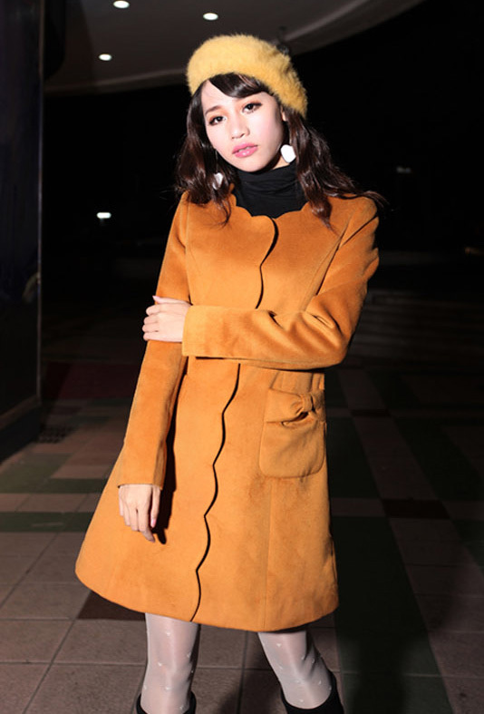 A line round neckline woolen Coat   yellow brown