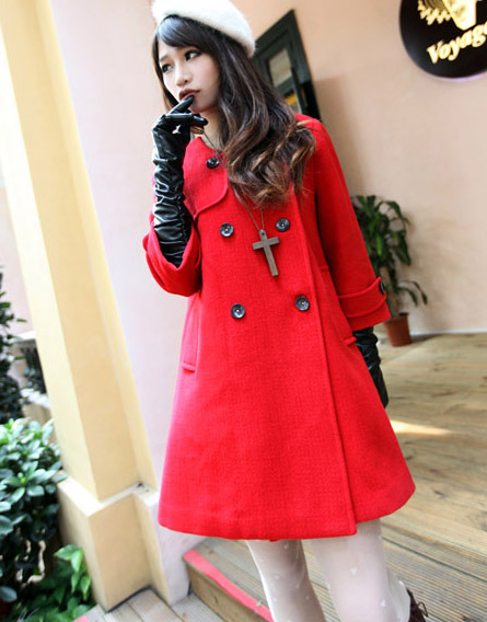 A-line double breast woolen Coat - red(or yellow, beige)
