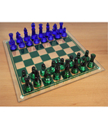 8Colored Glass Chess Set, Green and Blue & Gree... - $35.00