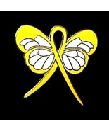 Liver Cancer Pin Yellow Awareness Ribbon Butter... - $10.97