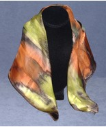 Hand Painted Silk Scarf Orange Green Square Uni... - $38.00