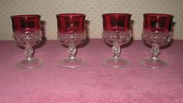 Set of 4 Vintage  Kings Crown Red/Ruby Flash St... - $19.80