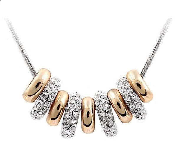 Swarovski Elements Gold Plated Seven Ring Pendant Necklace