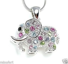 W Swarovski Crystal Good Luck Multi Color ELEPH... - $27.00