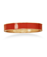 Burnt Orange Enamel Fashion Hinged Bangle Brace... - $6.00