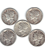 Five Mercury dimes ..Lot 1 - $20.00