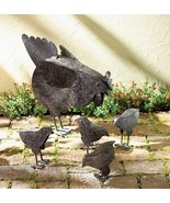 Chicken Hen Baby Chicks Metal Statues - $22.00