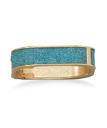Gold Tone Teal Blue Sparkle Square Fashion Hing... - $14.89
