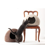 Cat bed - cat cave - cat house - brown felted c... - $92.65 - $146.20