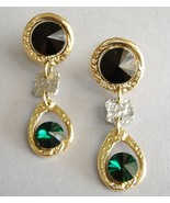 Emerald Green Black Crystal Earrings Gold Silve... - $149.00