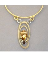 Amber Black Swarovski Crystal Necklace Gemstone... - $259.00