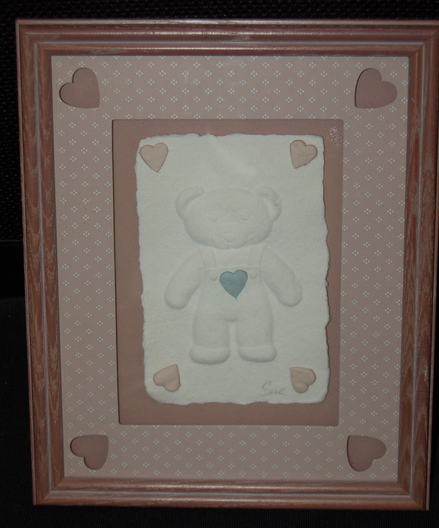 Bear Hearts Nursery Baby Picture Paper Art Matted Framed