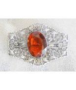 Edwardian Baroque Honey Cut Glass Silvertone Fi... - $39.00
