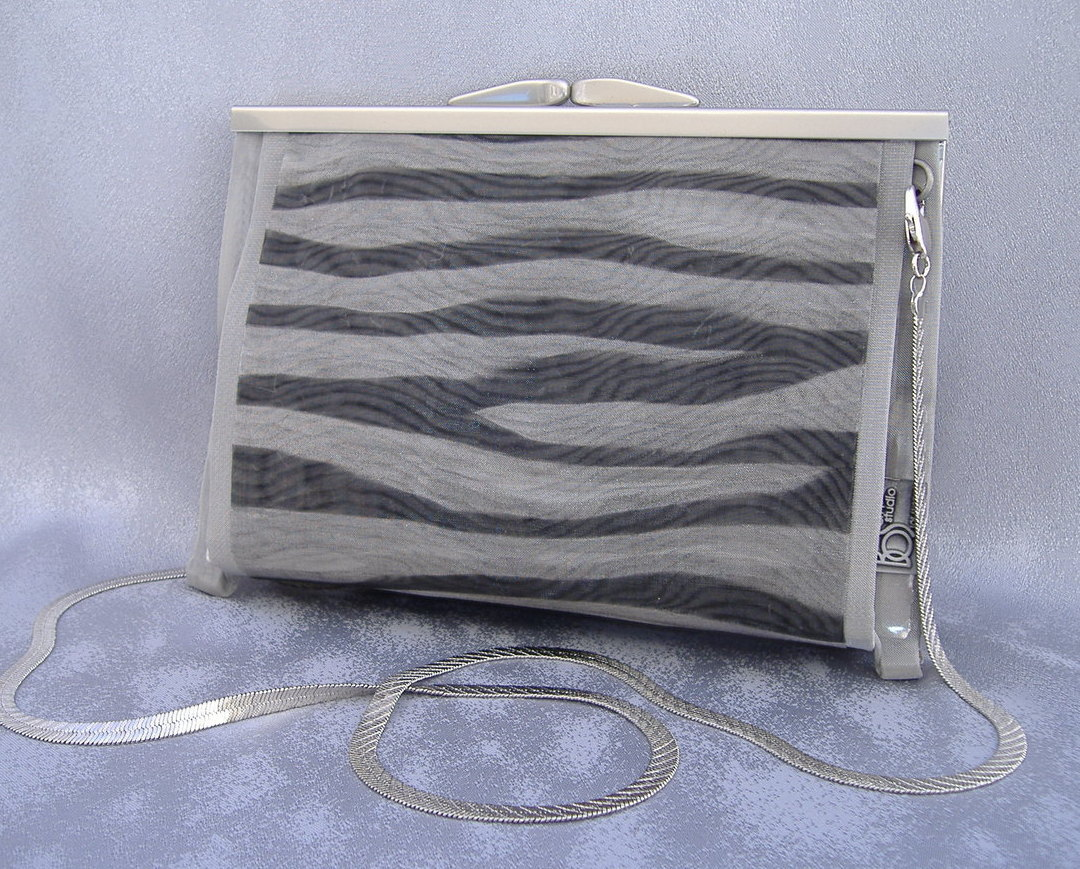 Mimi Wide Zebra Black Silver Wire Mesh Evening Bag Purse Clutch Shoulder Handbag