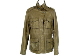 Madewell Olive Green Front Button Leather Jacke... - $319.10