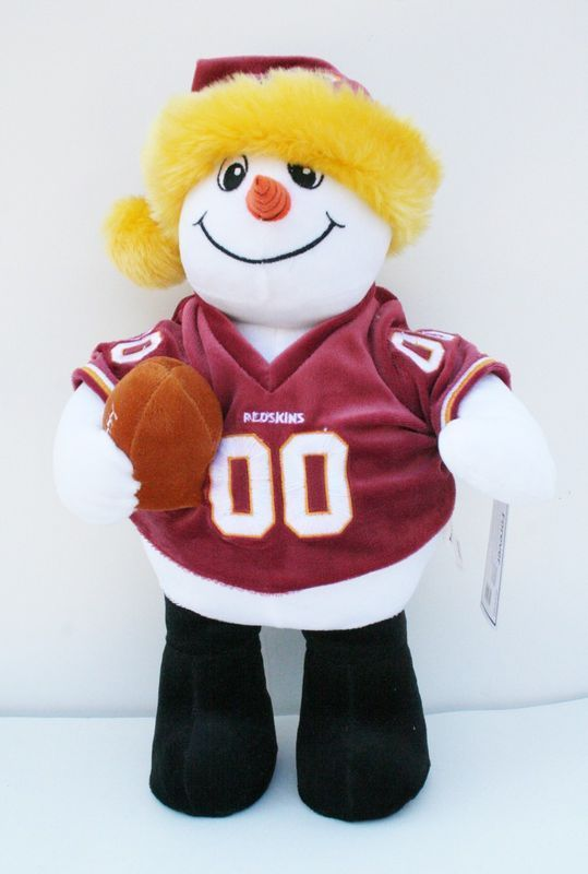 NFL Washington Redskins Plush Snowman with Christmas Hat Holding a Football NEW!