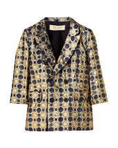 MARNI Blue Gold Jacquard Jacket Size 44 Large - $350.00