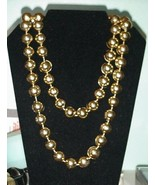 One Strand Gold Tone Metal Beads Necklace Vinta... - $29.65