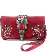 Western Buckle Rhinestone Studded Zip Around Wa... - $27.43