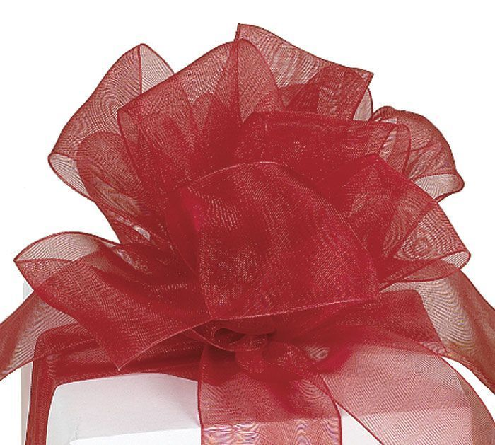 "SCARLET RED! 1""W x 10YDS Monofilament Edge Organza Sheer Ribbon"