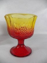 Wildfire Red Yellow Indiana Glass 6.5' Footed C... - $14.95