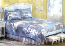 Bed Comforter with Shams Queen Size Blanket Blue Patchwork 3 Piece Set