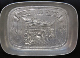 Vintage Pewtarex Pewter Bread Tray Bless This H... - $25.21