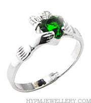 Handcrafted Sterling Silver Claddagh Ring with Emerald CZ Stone