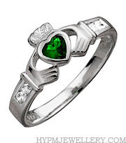 Handcrafted Sterling Silver Claddagh Ring with Synthetic Emerald and CZ Stones