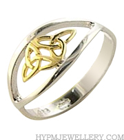 Handcrafted Sterling Silver Celtic Ring with 14K Gold Trinity Knot