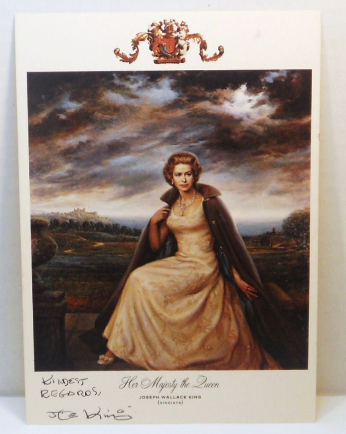 Postcard of painting Her Majesty The Queen by Joseph Wallace King signed