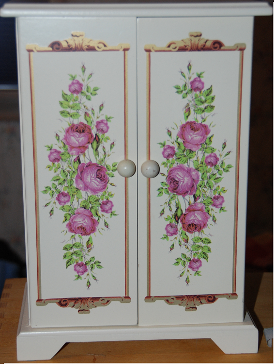 Buy Wood Jewelry Armoire Dresser. - White Painted Wood Jewelry Armoire - Pink floral pattern