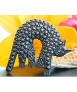 Vintage Cat Brooch Pin Human Face Stylized Bump... - $27.95