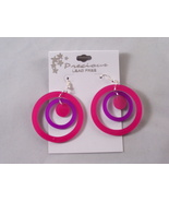 Pink and purple dangle earrings - $0.00