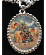 Christmas Angels Silvertone Toggle Necklace New - $18.00