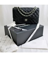 MINT! CHANEL Classic JUMBO Black CAVIAR Quilted... - $4,929.00