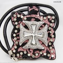 Black Leather Pink Scroll Bling Cross Pendant w... - $27.00