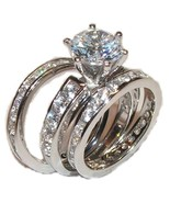 3 Piece Wedding Engagement Wedding Ring Set Sol... - $31.99