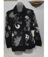 Laura Ashley black denim jacket size L NWT - $39.60