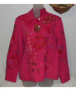 Laura Ashley fushia denim jacket size L - $24.75
