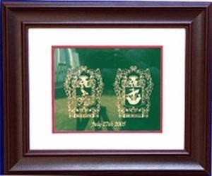 Brass Wedding Plate Framed - 8 x 10 - with Coat of Arms