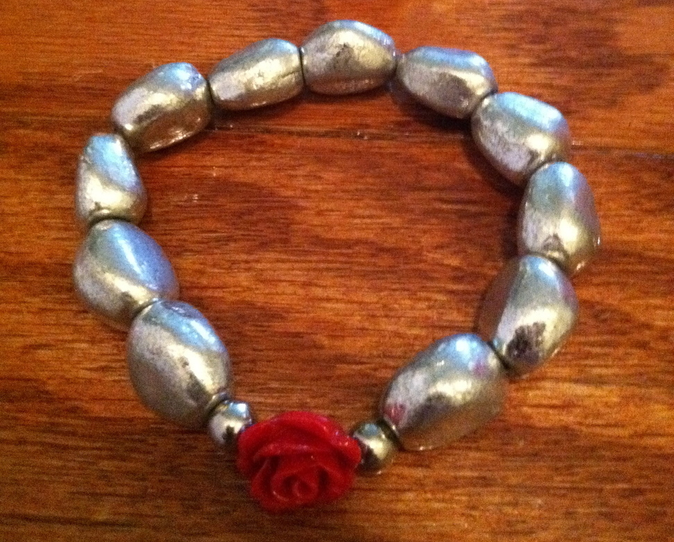 Metallic Bead Bracelet w  Red Rosette