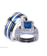 His & Hers Sapphire Blue & Clear Cz Wedding Rin... - $49.99