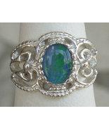 Australian Opal Sterling Silver Filigree Ring - $69.00